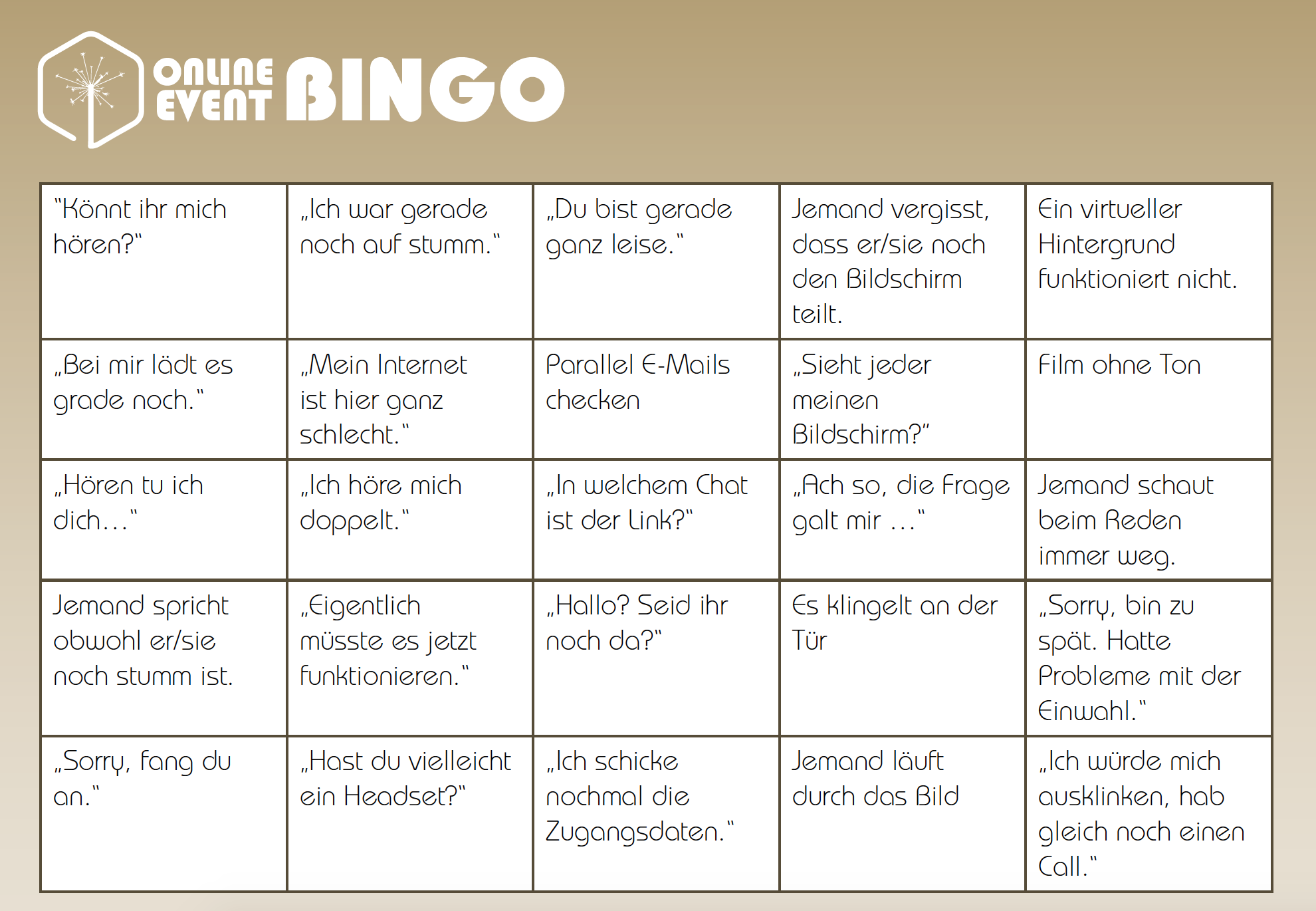 Aufmerksamkeits-Bingo